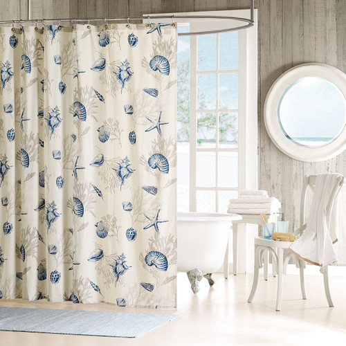 "Coastal Blue & Taupe Seashells Cotton Fabric Shower Curtain - 72"" x 72"" (Bayside-Blue-Shower)"