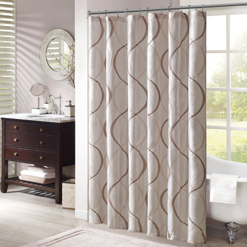 "Ivory & Brown Geometric Embroidered Fabric Shower Curtain - 72"" x 72"" (Serendipity-Ivory-Shower)"