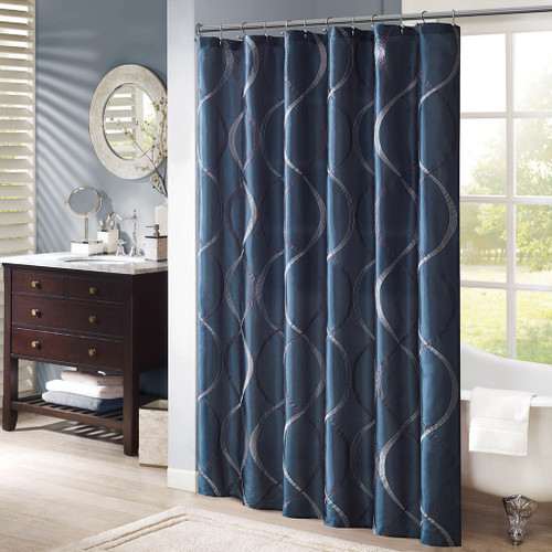 "Navy Blue & Grey Geometric Embroidered Fabric Shower Curtain - 72"" x 72"" (Serendipity-Navy-Shower)"