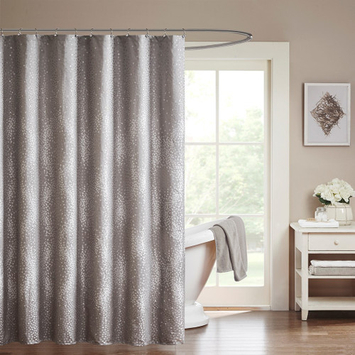 "Grey Woven Zig Zag Textured Fabric Shower Curtain - 72"" x 72"" (Quinn-Grey-Shower)"