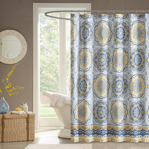 "Blue & Yellow Floral Medallion Fabric Shower Curtain - 72"" x 72"" (Tangiers-Blue-Shower)"