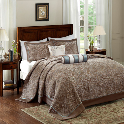 5pc Brown & Blue Jacquard Weave Bedspread Set AND Decorative Pillows (Aubrey-Blue-bedspread)
