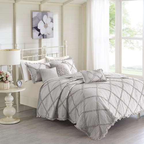 6pc Soft Grey Diamond Ruffle Quilted Coverlet AND Decorative Pillows (Rosie-Grey-Cov)
