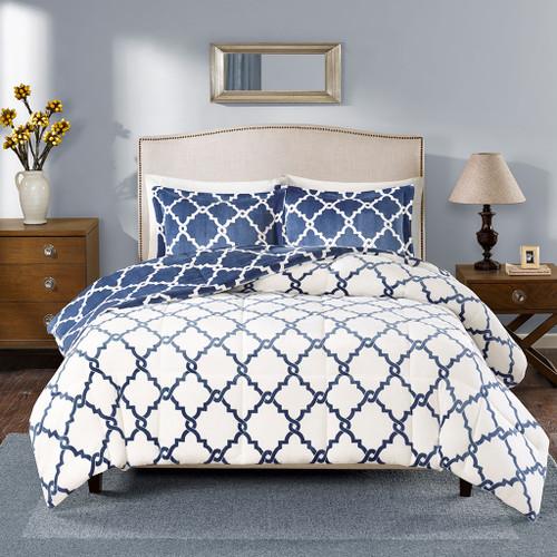 Navy Blue & White Reversible Geometric Fretwork Comforter AND Pillow Shams (Peyton-Navy)
