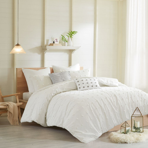 Ivory on Ivory Cotton Tufts Comforter Set AND Decorative Pillows (Brooklyn-Ivory)