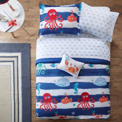 Blue & White Sea Creatures Comforter Set AND Matching Sheet Set (Sealife-Blue)