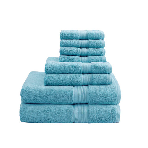 8pc Aqua Blue 800GSM Long Staple Cotton Bath Towel Set (800GSM-Aqua)