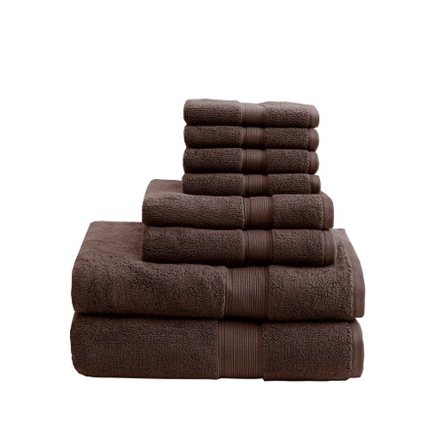 8pc Deep Brown 800GSM Long Staple Cotton Bath Towel Set (800GSM-Brown)