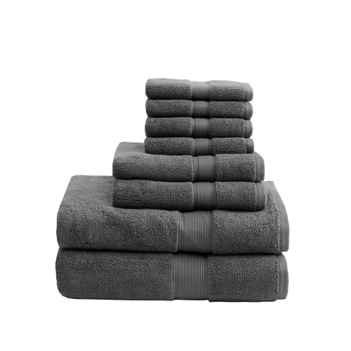8pc Deep Grey 800GSM Long Staple Cotton Bath Towel Set (800GSM-Grey)