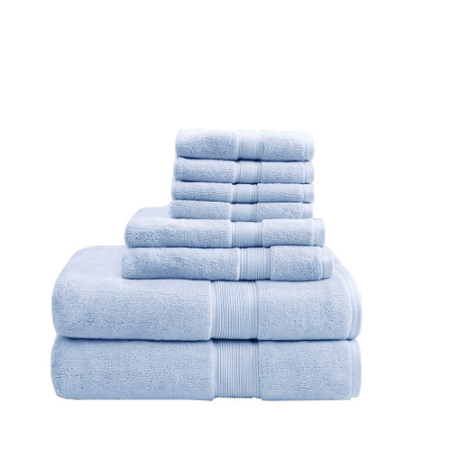 8pc Light Blue 800GSM Long Staple Cotton Bath Towel Set (800GSM-Light Blue)
