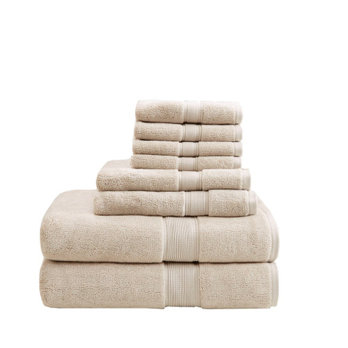 8pc Natural 800GSM Long Staple Cotton Bath Towel Set (800GSM-Natural)