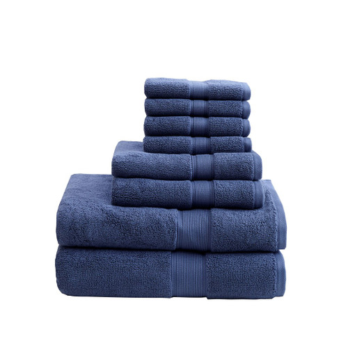 8pc Navy Blue 800GSM Long Staple Cotton Bath Towel Set (800GSM-Navy)