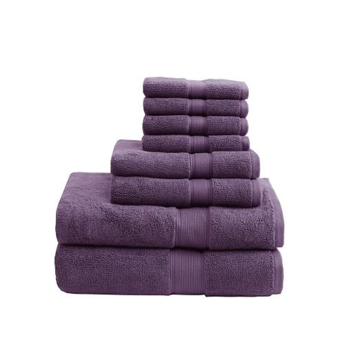 8pc Purple 800GSM Long Staple Cotton Bath Towel Set (800GSM-Purple)
