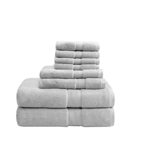 8pc Silver Grey 800GSM Long Staple Cotton Bath Towel Set (800GSM-Silver)