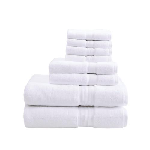 8pc White 800GSM Long Staple Cotton Bath Towel Set (800GSM-White)