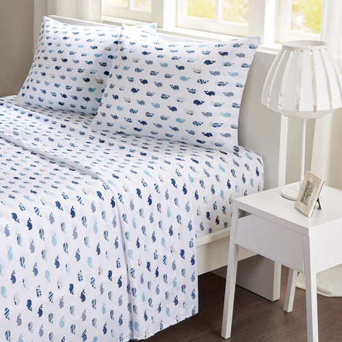 Blue & White Moby Whales Printed Microfiber Sheet Set (Printed Sheets-Blue)