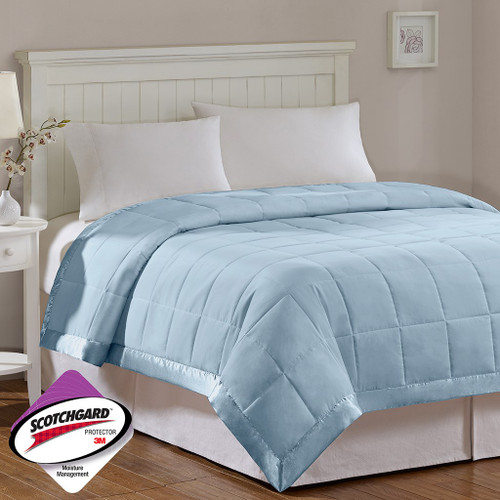 Year Round Light Blue Microfiber Down Alternative Blanket w/3M Scotchgard (Windom-Blue)