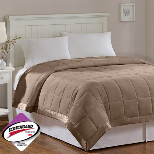 Year Round Brown Microfiber Down Alternative Blanket w/3M Scotchgard (Windom-Brown)