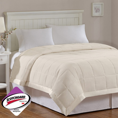 Year Round Ivory Microfiber Down Alternative Blanket w/3M Scotchgard (Windom-Ivory)