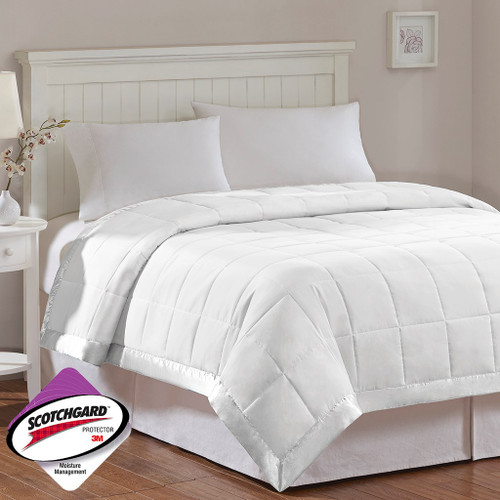 Year Round White Microfiber Down Alternative Blanket w/3M Scotchgard (Windom-White)