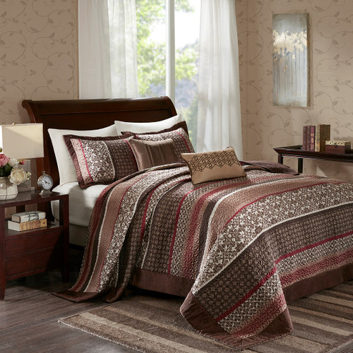 5pc Brown & Red Geometric Medallions Bedspread Set AND Decorative Pillows (Princeton-Red-bedspread)