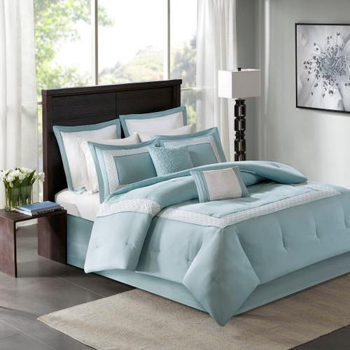 8pc Blue & White Microfiber Embroidered Comforter Set AND Decorative Pillows (Stratford-Aqua)