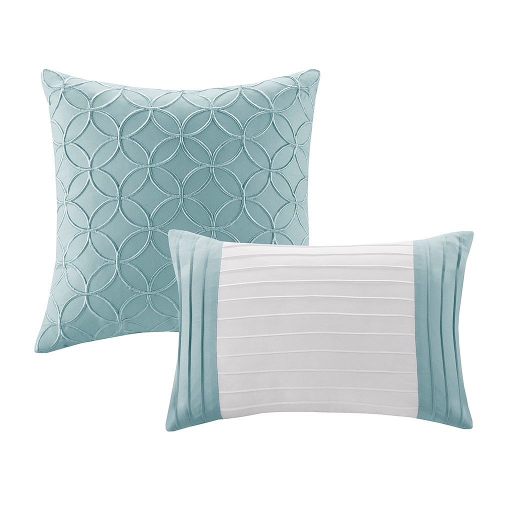 8pc Blue & White Microfiber Embroidered Comforter Set AND Decorative Pillows (Stratford-Aqua)
