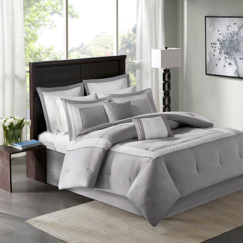 8pc Grey & White Microfiber Embroidered Comforter Set AND Decorative Pillows (Stratford-Grey)