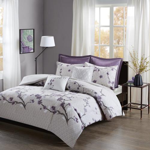 7pc Purple & Grey Floral Cotton Duvet Cover Set AND Decorative Pillows (Holly-Purple-duv)