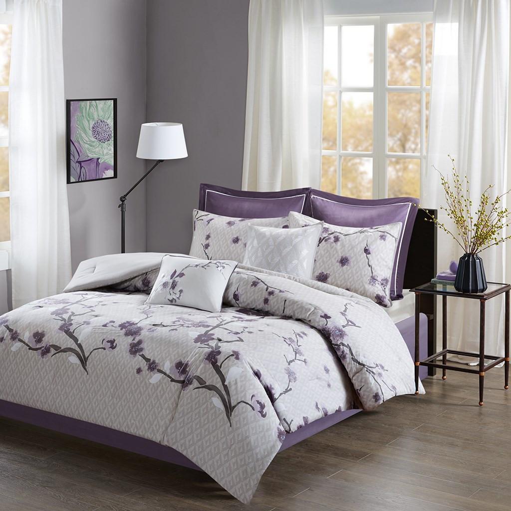 8pc Purple Grey Floral Cotton Comforter Set And Decorative