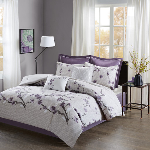 8pc Purple & Grey Floral Cotton Comforter Set AND Decorative Pillows (Holly-Purple)