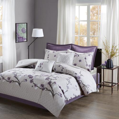 8pc Purple & Grey Floral Cotton Comforter Set AND Decorative Pillows (Holly-Purple)