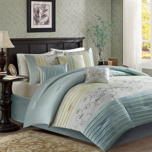 7pc Aqua & Green Embroidered Floral Comforter Set AND Decorative Pillows (Serene-Aqua)