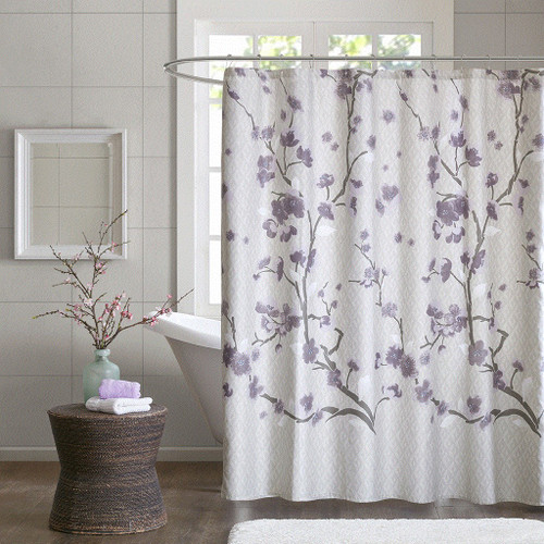 "Purple & Grey Floral Blossom Cotton Fabric Shower Curtain - 72"" x 72"" (Holly-Purple-Shower)"
