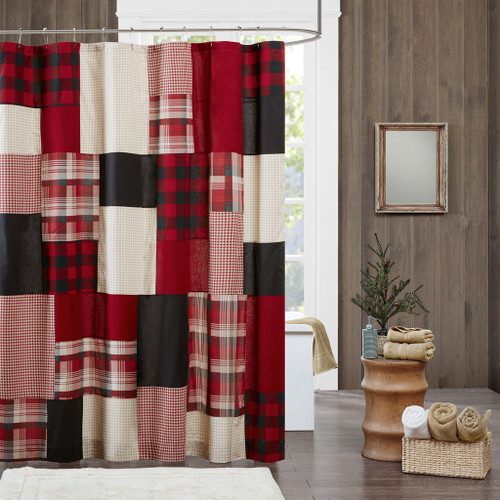 "Rustic Red Black & Tan Plaid Cotton Fabric Shower Curtain - 72"" x 72"" (Sunset-Red-Shower)"