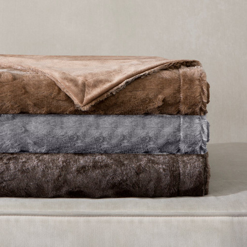 "Luxury Oversized Reversible Faux Fur Throw - 60"" x 70"" (Zuri Oversized-Throw)"