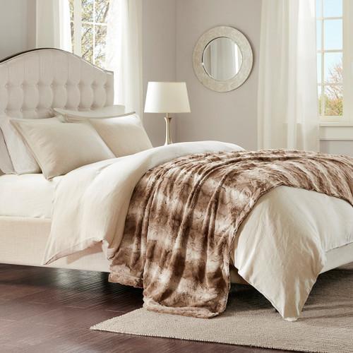 "Tan Brown Oversized Reversible Faux Fur Bed Throw - 96"" x 80"" (Zuri Faux Fur-Tan-Throw)"