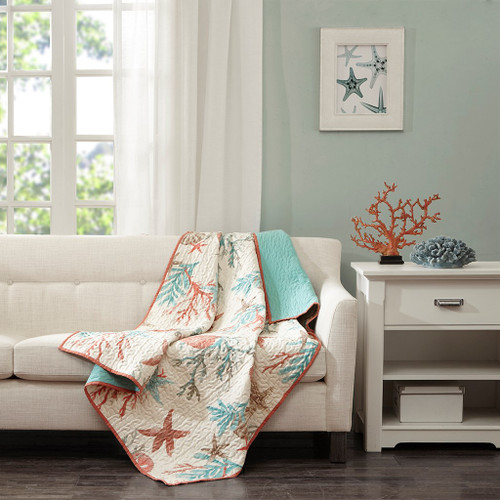 "Coral & Teal Beach Starfish Oversized Quilted Throw - 50"" x 70"" (Pebble Beach-Coral-Throw)"