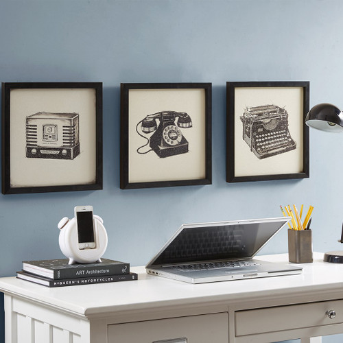 3pc Vintage Style Telephone Typewriter & Radio Shadowbox Wall Art (Vintage Models-Art)