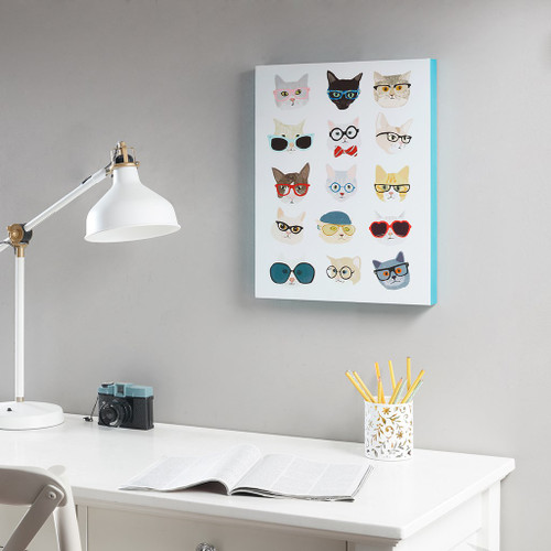 Cool Hip Cat Lovers Cats with Glasses Wall Art - 14x18 Inches (Hip Cat-Art)