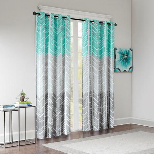 Aqua Grey & White Geometric Chevron Blackout Curtain Panel (Adel-Aqua-Panel)