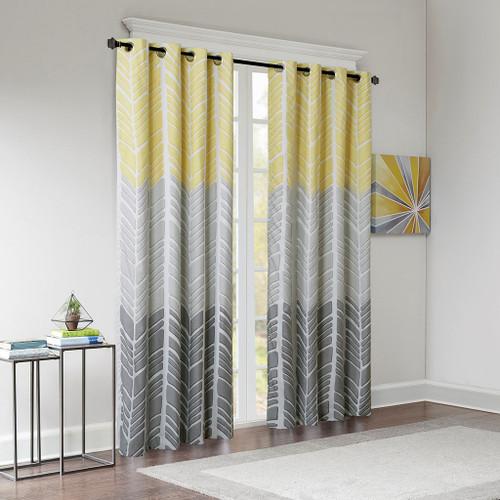 Yellow Grey & White Geometric Chevron Blackout Curtain Panel (Adel-Yellow-Panel)