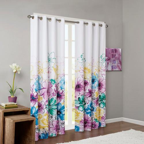 Blue Green & Purple Floral Blackout Curtain Panel - Grommet Top (Olivia-Blue-Panel)