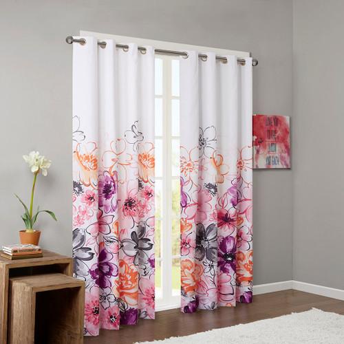 Pink Orange & Grey Floral Blackout Curtain Panel - Grommet Top (Olivia-Pink-Panel)