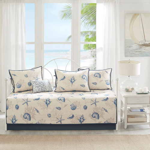 6pc Coastal Blue & Taupe Quilted Daybed Set AND Decorative Pillow (Bayside-Blue-DB)