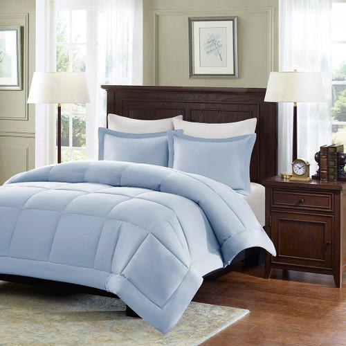 Soft Blue Microcell Down Alternative Comforter and Pillow Shams (Sarasota-Blue)