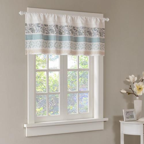 Blue & White Cottage Chic Lace Window Valance - Rod Pocket (Dawn-Blue-val)