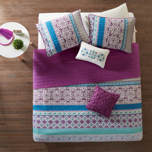 Purple Blue & Grey Geometric Coverlet Set AND Decorative Pillows (Joni-Purple-Cov)