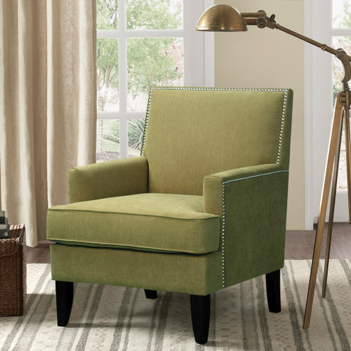 Green Colton Track Arm Club Chair w/Wood Legs (Colton-Green-Chair)