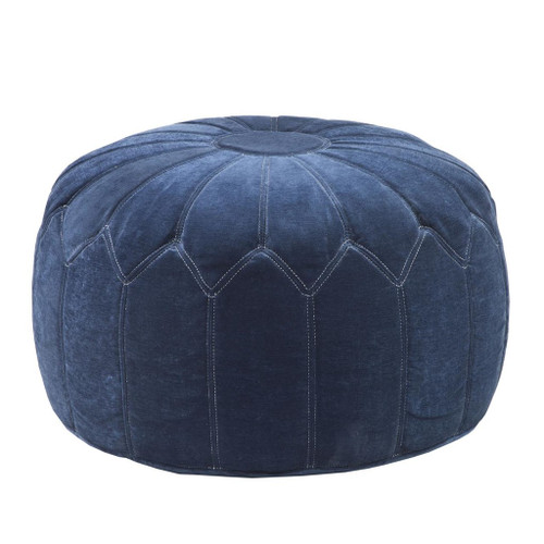 Blue Kelsey Round Pouf Ottoman (Blue Kelsey-Benches)